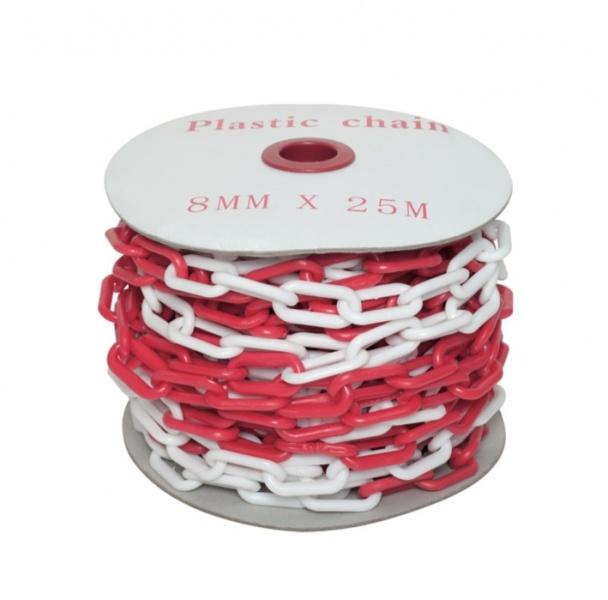 Пластиковая оградительная цепь красно белого цвета различного диаметра звена